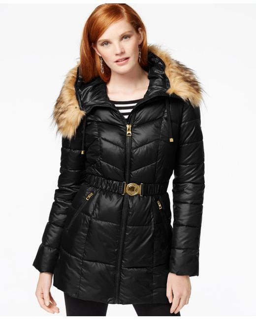 Guess Faux Fur Trim Belted Puffer Coat In Black Lyst