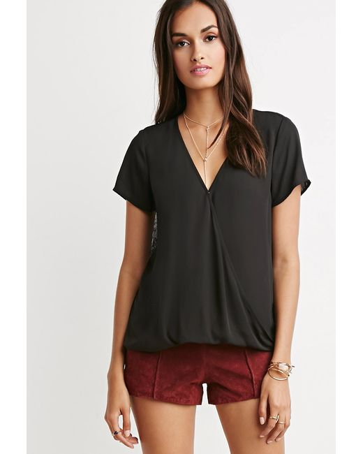 Forever 21 | Black Lace-paneled Twist Surplice Top | Lyst