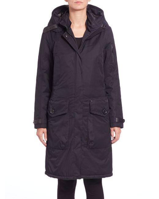 g lab whistler fur collar coat in blue navy lyst. Black Bedroom Furniture Sets. Home Design Ideas