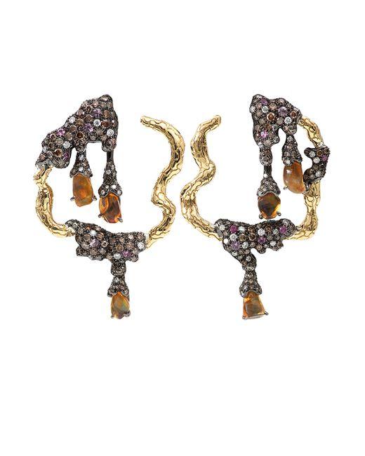 Arunashi | Metallic Fire Opal And Pink Sapphires Earrings | Lyst