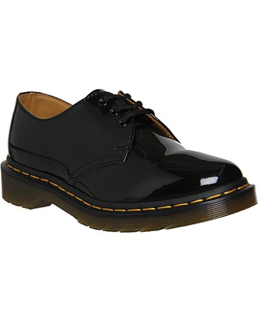 dr martens 1461 3 eye patent leather shoes in black for