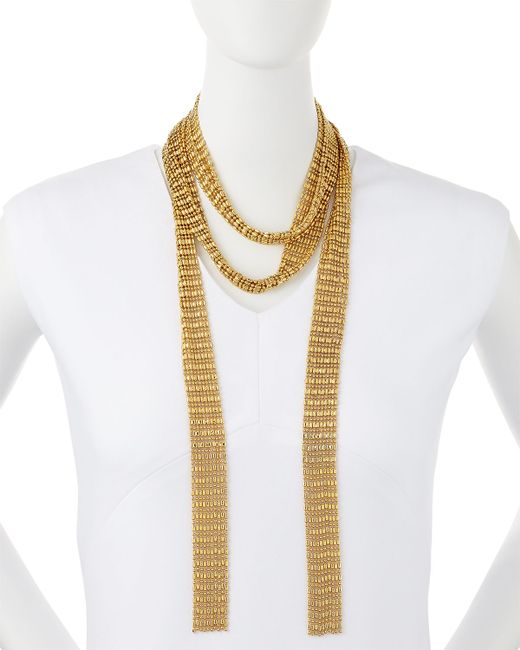 Auden | Metallic Leighton Gold-plated Scarf Necklace | Lyst