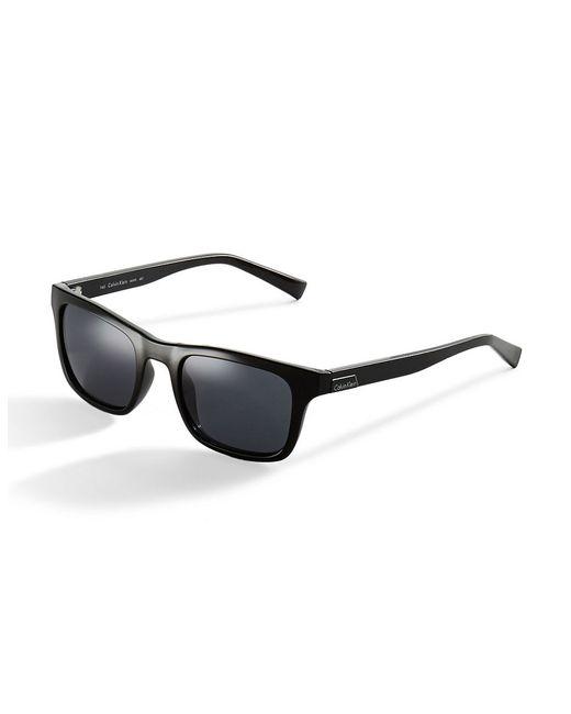 Calvin Klein | Black Rectangular Wayfarer Sunglasses | Lyst