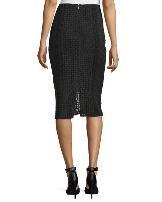 lace crochet pencil skirt in black lyst