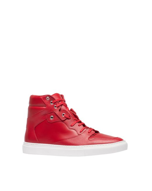 balenciaga monochrome hightop sneakers in red for men