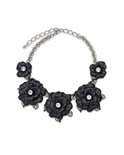 Kenneth Jay Lane   Black Graduating Flower Necklace   Lyst