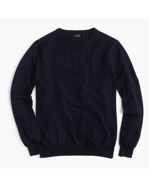 J.Crew | Blue Merino Wool Crewneck Sweater for Men | Lyst