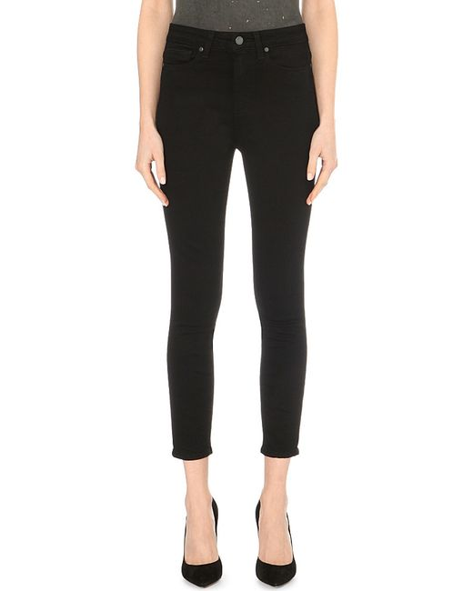 PAIGE | Black Margot Ultra-skinny High-rise Cropped Jeans | Lyst