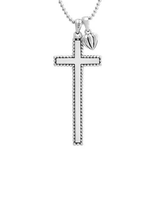 Lagos | Metallic Caviar-Trim Cross & Heart Pendant Necklace | Lyst