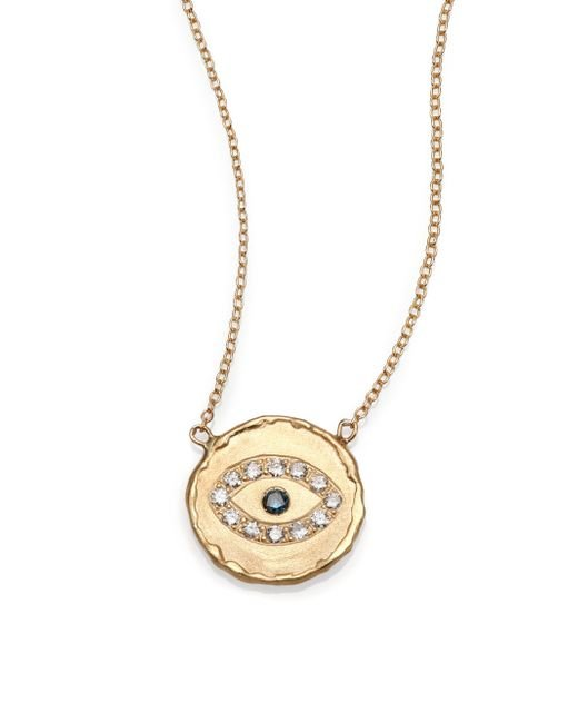 Jacquie Aiche | Metallic Blue Diamond & 14k Yellow Gold Hammered Disc Eye Necklace | Lyst