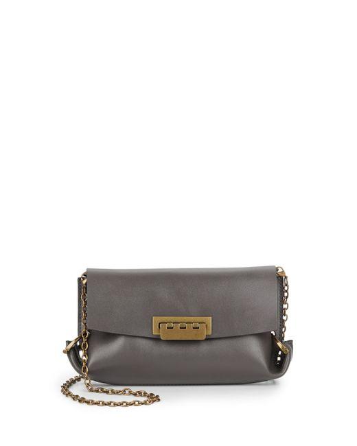 Zac Zac Posen | Gray Folded Gusset Leather Crossbody Bag | Lyst