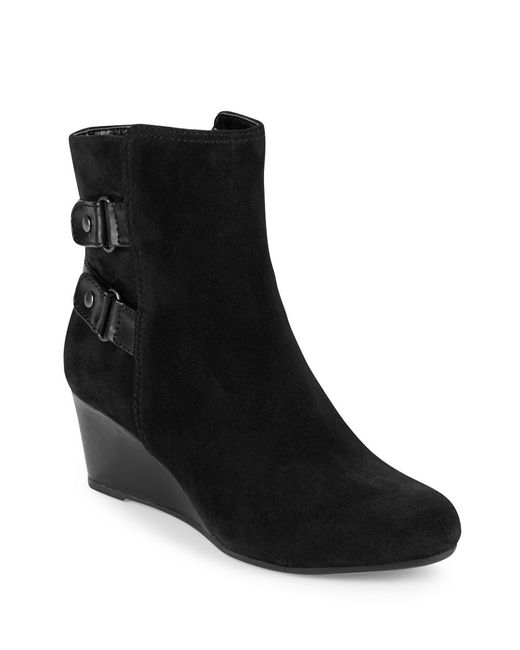 bandolino ariona suede wedge ankle boots in multicolor