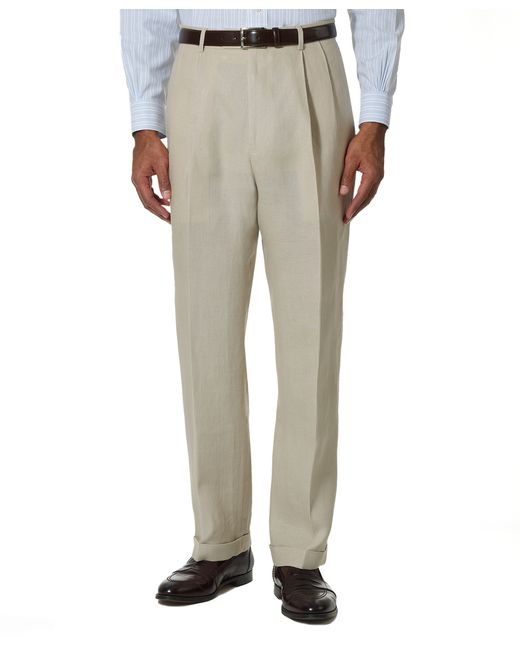 Brooks Brothers | Natural Irish Linen Pleat-front Trousers for Men | Lyst