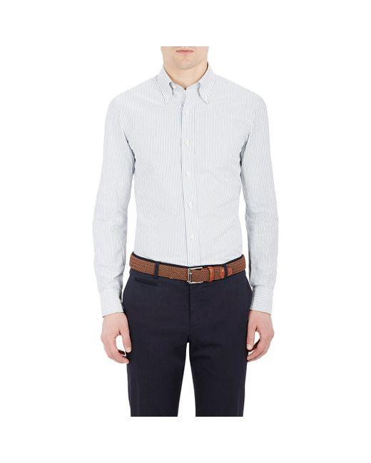 Salvatore piccolo men 39 s striped button down shirt in blue for Striped button down shirts for men