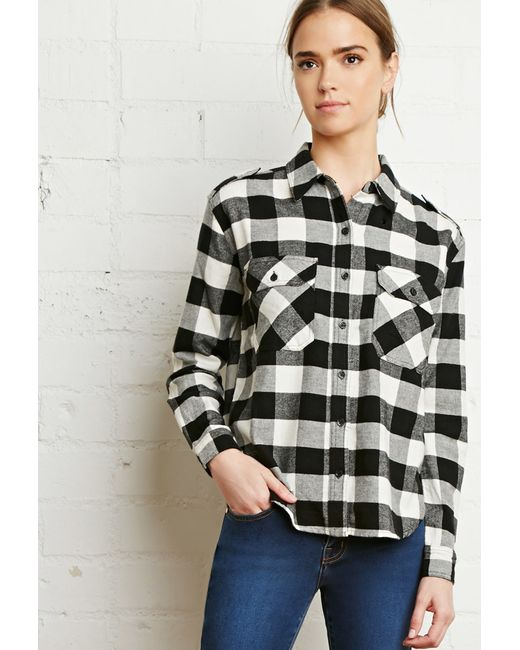 Forever 21 | Black Buffalo Plaid Flannel Shirt | Lyst