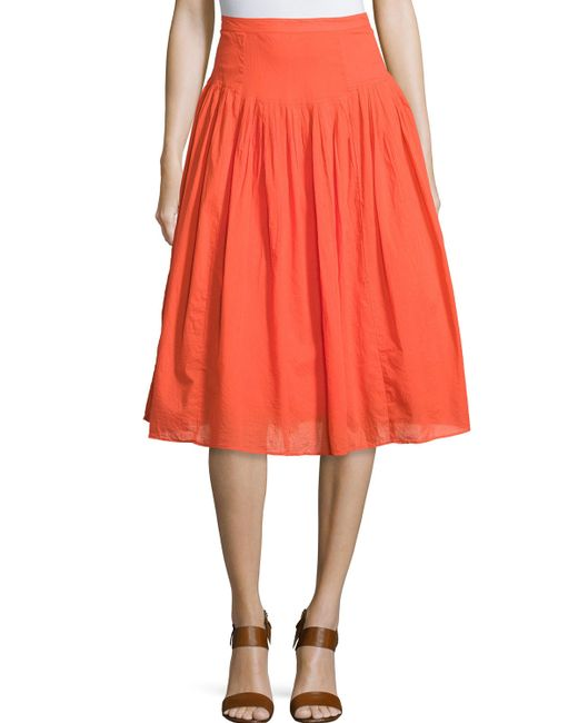 neiman pleated cotton a line skirt in orange save