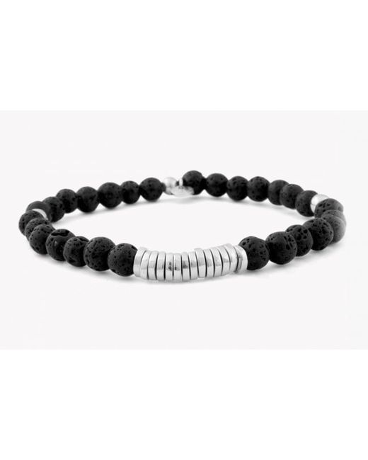Tateossian | Disc Round Black Lava Beaded Bracelet With Silver Spacer Discs for Men | Lyst