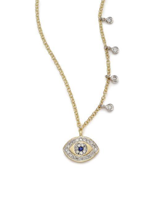 Meira T | Metallic Diamond, Blue Sapphire & 14k Yellow Gold Evil Eye Pendant Necklace | Lyst
