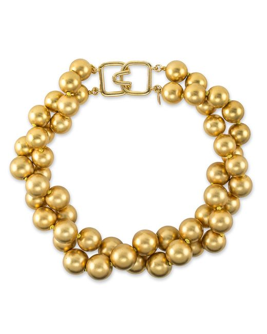 Kenneth Jay Lane | Metallic Satin Gold Bead Necklace | Lyst