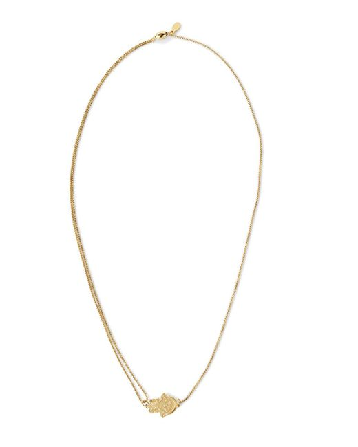 "ALEX AND ANI   Metallic Precious Metals Symbolic Hand Of Fatima Pull Chain Necklace, 10-24""   Lyst"