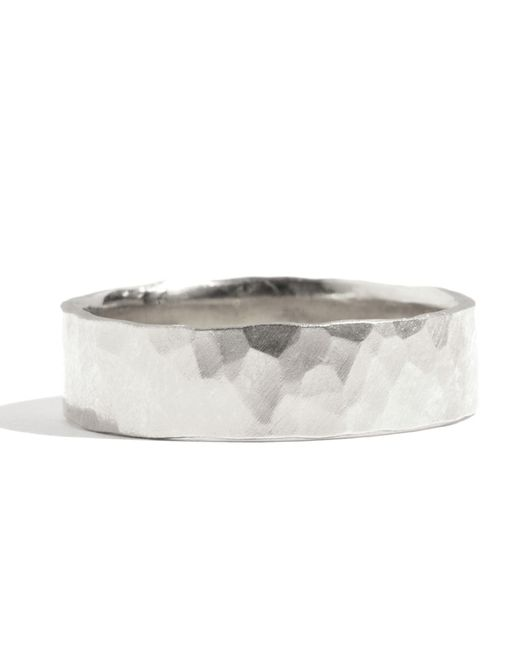 Melissa Joy Manning | Metallic 18k White Gold Hammered Texture 6mm Ring | Lyst
