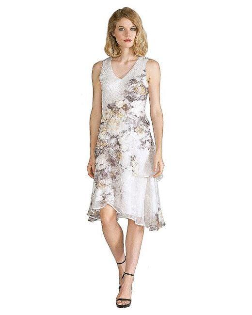 Komarov | Floral Chiffon Tiered Dress | Lyst