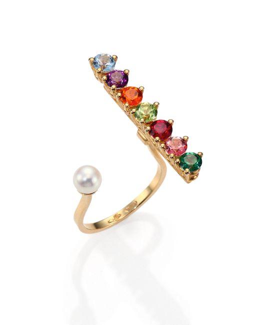 Delfina Delettrez   Gold Vein Multicolor Topaz, Peridot & 4mm White Freshwater Pearl Ring   Lyst