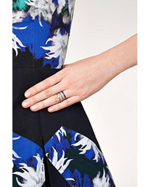 Nikos Koulis | Metallic 18kt Blackened Gold Ring With Sapphires And White Diamonds - Silver | Lyst