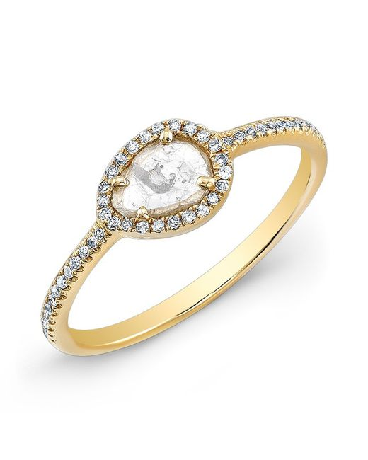 Anne Sisteron - White 14kt Yellow Gold Sasha Diamond Slice Ring - Lyst