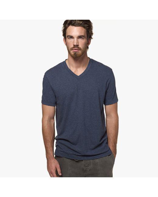 James Perse | Blue Melange Jersey V-neck for Men | Lyst