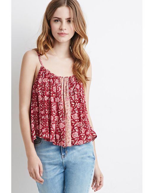 Forever 21 | Pink Striped Floral Print Cami | Lyst