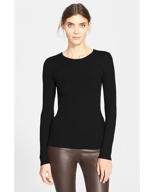 Theory | Black 'mirzi' Rib Knit Merino Wool Sweater | Lyst