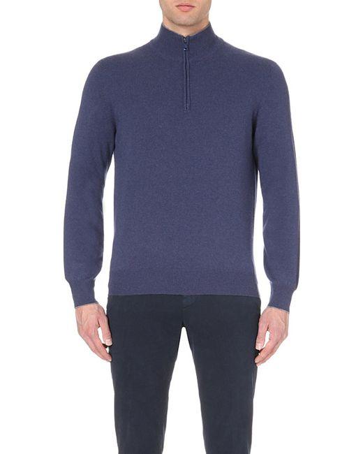 Brunello Cucinelli | Blue Zip-detail Cashmere Jumper - For Men for Men | Lyst
