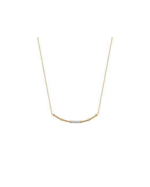 John Hardy | Metallic Bamboo 18k Yellow Gold Diamond Pave Slim Necklace With Diamonds, 16"