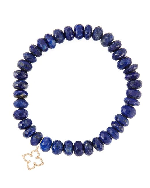 Sydney Evan | Blue 8mm Faceted Lapis Beaded Bracelet With 14k Gold/diamond Small Moroccan Flower Charm (made To Order) | Lyst