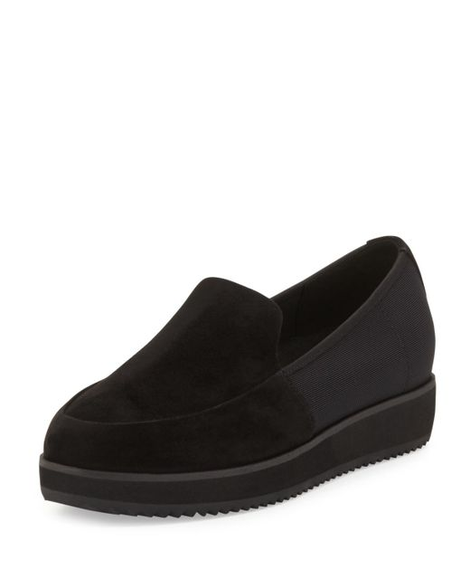 Eileen Fisher | Black Dell Suede Loafers | Lyst