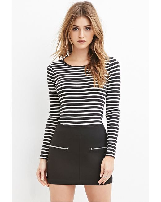 Forever 21 | Black Heathered Stripe Top | Lyst
