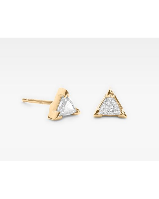 Vrai & Oro | Metallic Trillion Diamond Earrings | Lyst