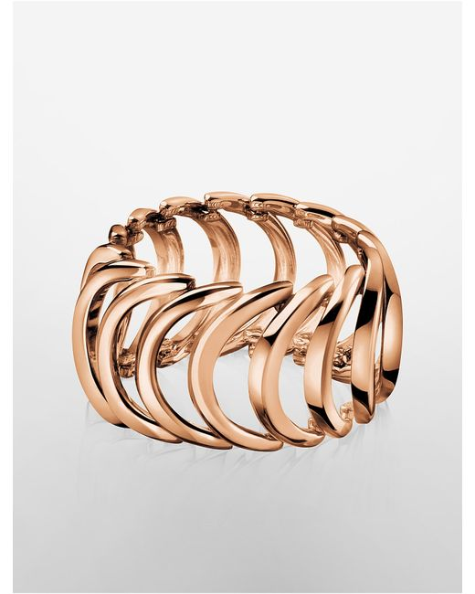 Calvin Klein | Pink Platinum Body Rose Gold Ring | Lyst