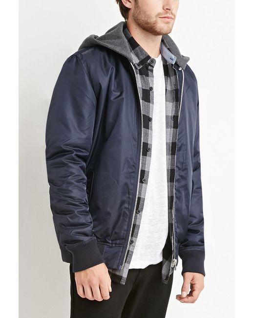 Forever 21 | Blue Padded Nylon Hooded Jacket for Men | Lyst