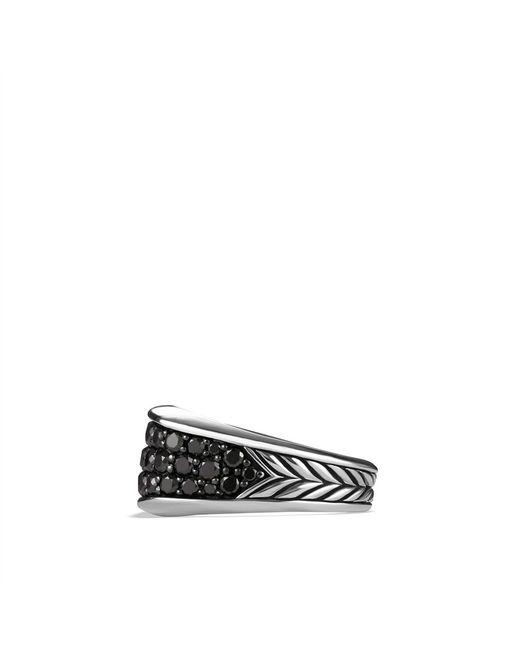 David Yurman | Chevron Narrow Threesided Ring with Black Diamonds for Men | Lyst
