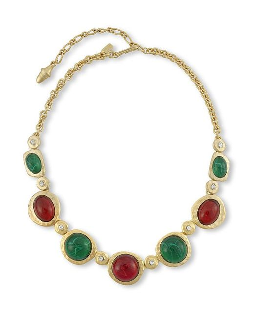 Kenneth Jay Lane | Multicolor Ruby And Emerald Cabochons Necklace | Lyst