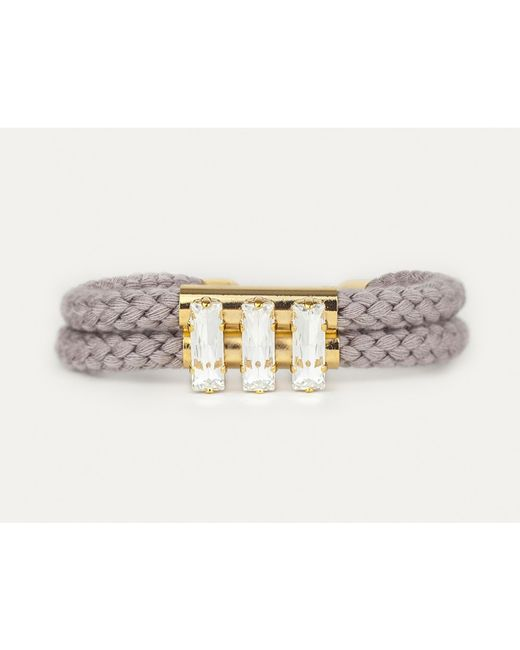 Sabrina Dehoff | Gray Double Cord Grey Bracelet With Triple Rectangular Swarovski Stones | Lyst