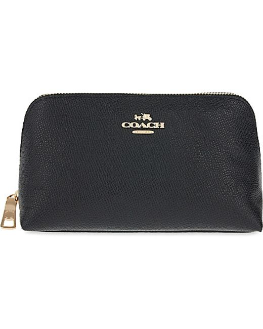 COACH | Black Crossgrain Leather Cosmetic Case | Lyst