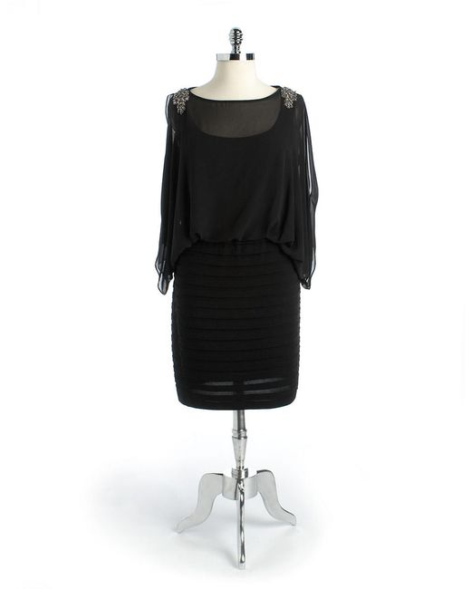 Xscape | Black Plus Long Sleeved Beaded Gown | Lyst