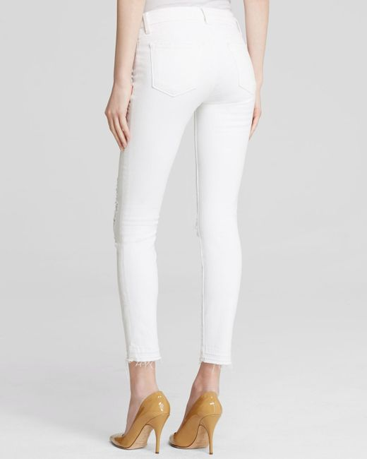 J brand Low Rise Ankle Skinny Jeans In Demented in White (Demented) | Lyst