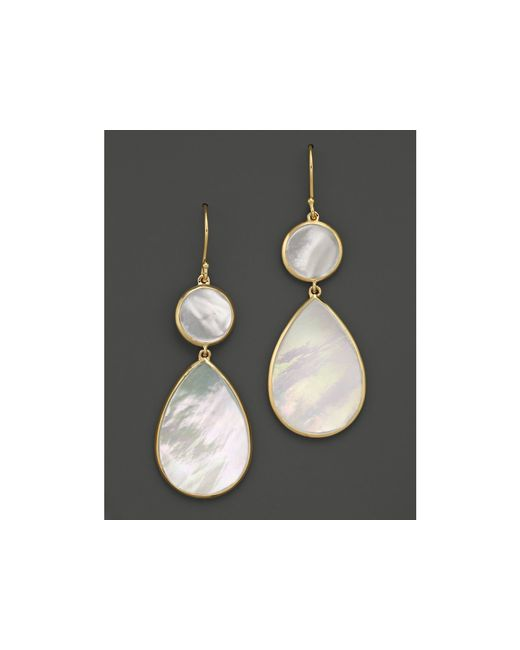 Ippolita | Metallic 18k Gold Polished Rock Candy 2 Drop Earrings In Mother-of-pearl | Lyst
