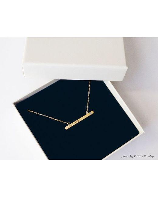 Vrai & Oro   Metallic Bar Necklace With Diamond   Lyst