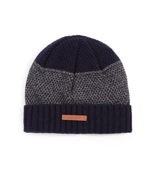 Bickley + Mitchell | Black Mixed-pattern Cuffed Lambswool Beanie for Men | Lyst
