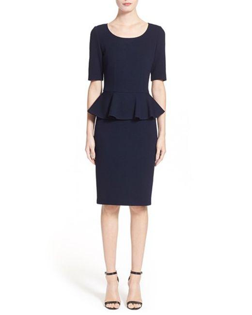 St. John | Blue Peplum Milano Pique Knit Dress | Lyst